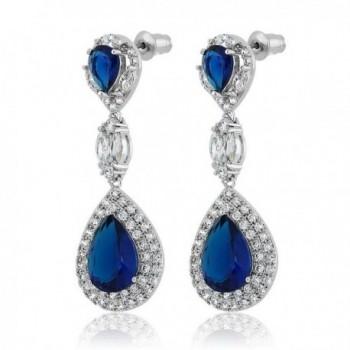 Simulated Sapphire Zirconia Chandelier Earrings