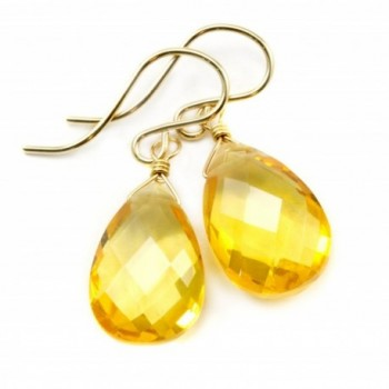 14k Gold Filled Simulated Citrine Earrings Yellow Faceted Pear Teardrop Simple Briolette - CN11DQCSVTN