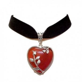 Black Velvet Choker Necklace w Red Agate Heart - C8120HDQ6DB