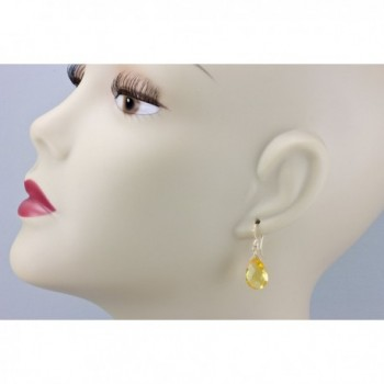 Simulated Citrine Earrings Teardrop Briolette