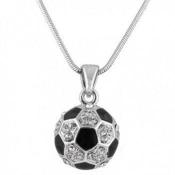 Silvertone with Black & White Iced Out Soccer Ball Pendant with an 18 Inch Snake Necklace (B-356) - CK11BS1TZFD