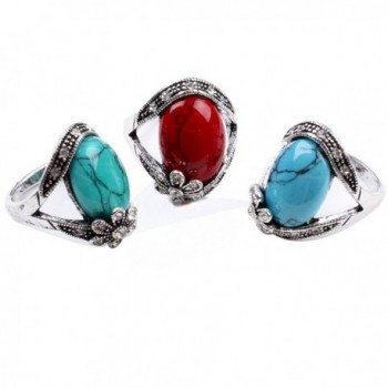 Flower Synthetic Turquoise Fashion Womens Jewelry in Women's Statement Rings