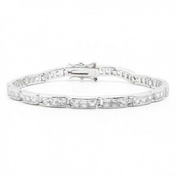 Bling Jewelry Past Present Future CZ Tennis Bracelet 7.5in Sterling Silver - CR113AIZNG1