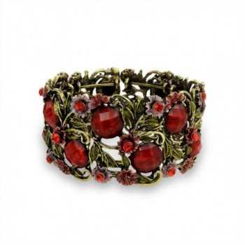 Bling Jewelry Simulated Garnet Crystal Flower Cuff Bracelet Gold Plated - C411DNGMUTJ