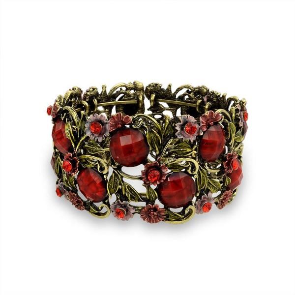 Bling Jewelry Simulated Garnet Crystal Flower Cuff Bracelet Gold Plated - C411DNGMUTJ