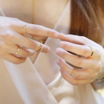 Chevron Midi Ring Gold Silver