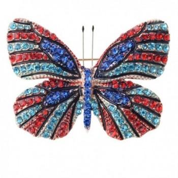 Elegant Butterfly Vintage Colorful Rhinestone - Red&Blue - CN183L2XXLK