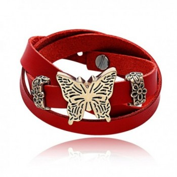 CHUANGYUN Red Leather Extendable Antique Gold/Rose Gold/Silver Butterfly Classic Bracelet for Women - Rose Gold - CI17Z35R4T0