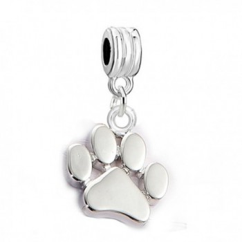 Sexy Sparkles Dog Paw Dangling Charm Spacer for European Bracelets - CL12O3W0BRB
