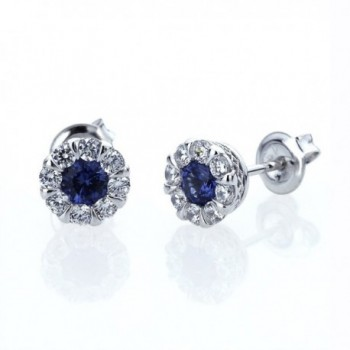 Platinum Plated Sterling Silver Cubic Zirconia Illusion Set Womens Stud Earrings-Other Colors - Blue - CL11P09E1UN
