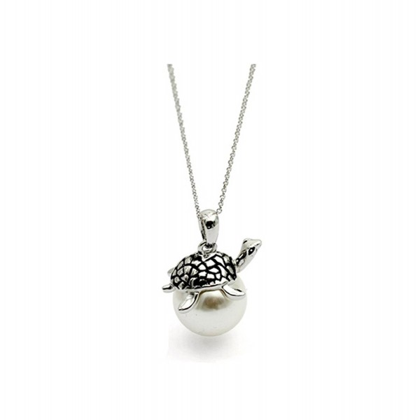 White Gold Plated Cute Simple Turtle with White Cultured Pearl Pendant Necklace Fashion Jewelry for Women - C111W0QEJ1Z