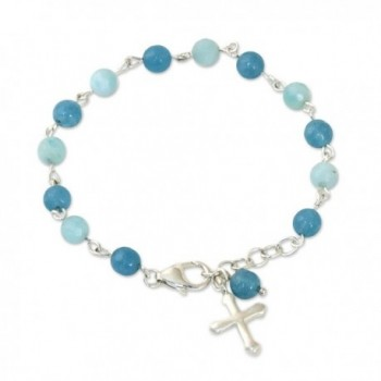 "NOVICA Multi-Gem Amazonite .925 Sterling Silver Beaded Bracelet- 7.5""- 'Flying Cross' - C017YR8SGQZ"