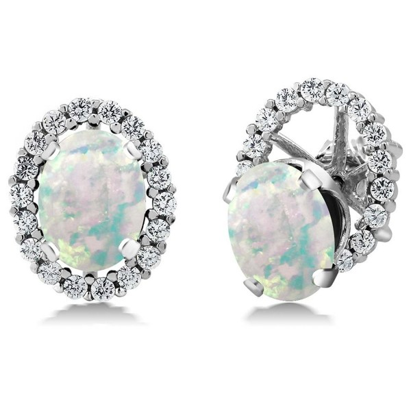 2.62 Ct Oval White Simulated Opal 925 Sterling Silver Stud Earrings with Jackets - C211MDEYKD1