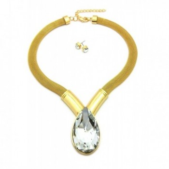 """Women's Big Tear Drop Shape Stone Accent 12mm Mesh Chain 16"""" Necklace & Earring Set in Gold Tone - C512H6VGD5D"""