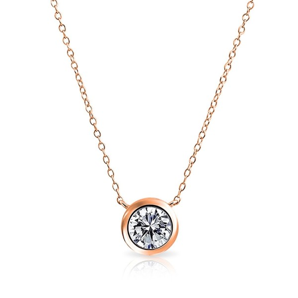 Bling Jewelry Clear CZ Pendant Rose Gold Plated Necklace 16 Inches - CD11HAS6TGP