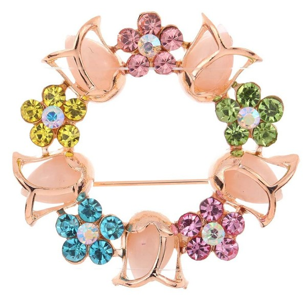 Yazilind Jewelry Tulip Flower Shape Colorful Crysatl Inlay Golden Plated Brooches and Pins for Women - Golden - CF11IMJF3KP
