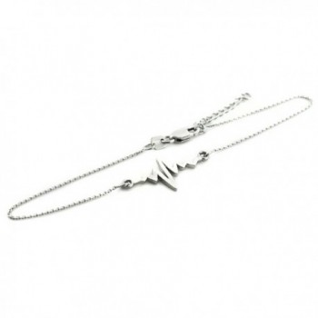 "Fine 925 Sterling Silver Heartbeat Pulse Bracelet- 7.5"" Adjustable to 8"" - CU12C7MYJZ7"