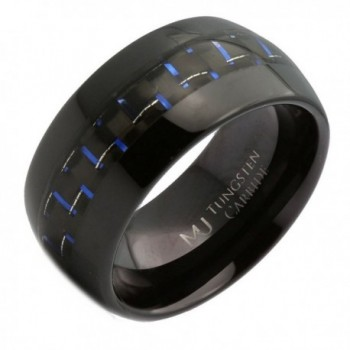 MJ 10mm Tungsten Carbide Black Plated Band With Black and Blue Carbon Fiber Inlay Ring - CK17YI6YD84