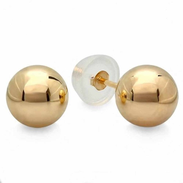 10k Yellow Gold Ball 6mm Stud Earrings with Silicone covered Gold Pushbacks - CP117L2VK7T