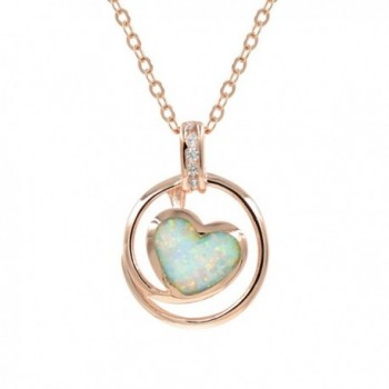 Espere Lab Created Opal Heart Pendant Necklace 18 Inch in Sterling Silver 925 Rhodium Plated - Yellow - C312F7RCWPX