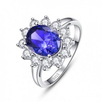 BONLAVIE Women's 925 Sterling Silver Oval Cut Created Tanzanite Princess Diana Engagement Ring - C212N6BICOE