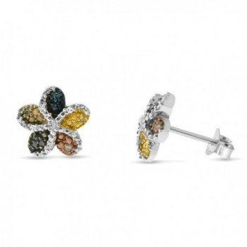Sterling Silver Multi-colored Diamond Flower Stud Earrings - CZ11V2VPKNP