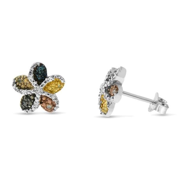 Sterling Silver Multi-colored Diamond Flower Stud Earrings - CZ11V2VPKNP