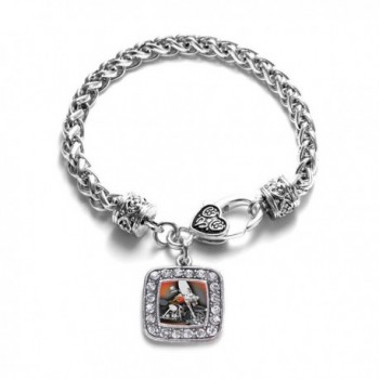 Motorcycle Lovers Classic Silver Plated Square Crystal Charm Bracelet - CN11U7O3EY5