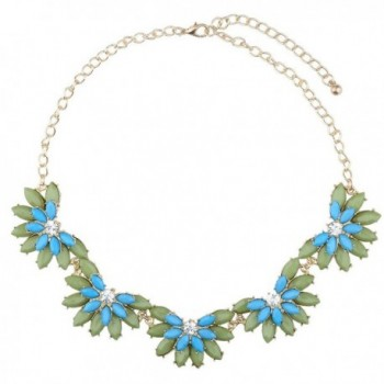 BriLove Women's Fashion Austrian Crystal Bohemian Flower Resin Beads Bib Collar Necklace Green & Blue - CU11RU0V15D