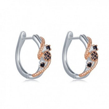 MBLife 925 Sterling Silver Plated Rose Gold Black CZ Twisted Rope Hinged Hoop Earrings - CE1875ZQZUQ