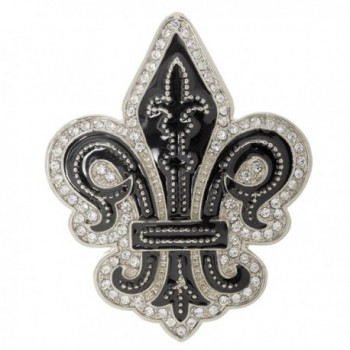"""Fleur de Lis """"Flower of the Lily"""" French Brooch Pin 2"""" with Crystal Accents - C5187QU4YGX"""