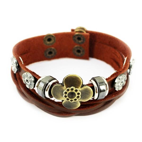 Wild Wind (TM) Vintage Silver Tone Flower Adjustable Button Studded Bronze Sunflower Thicken Bangle Wrap Bracelet - CX121U7GGN3