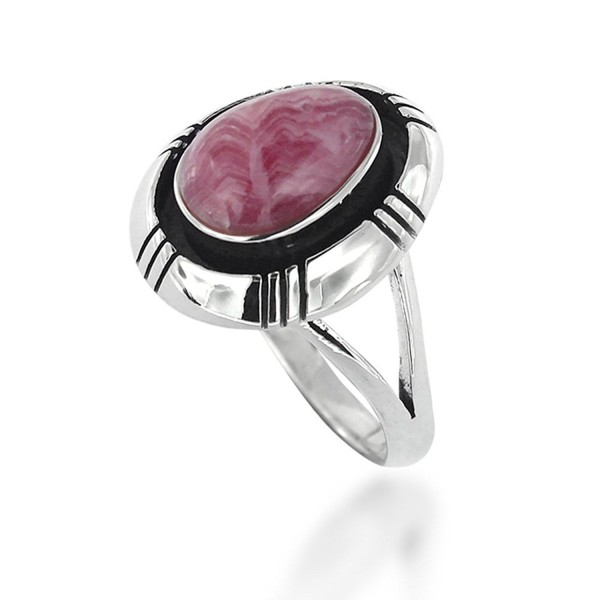 925 Oxidized Sterling Silver Pink Rhodochrosite Oval Statement Ring - C411XI2PXMT