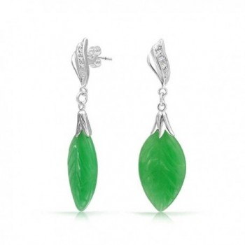 Bling Jewelry CZ Carved Leaf Simulated Green Jade Dangle Drop Earrings 925 Sterling Silver - CG11EQ24IV7