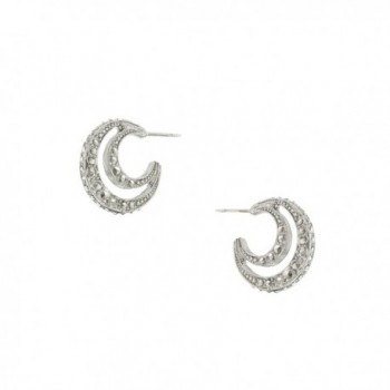 1928 Jewelry Stardust Silver-Tone Crescent Moon Earrings - C1119844GT7