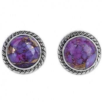 NOVICA Round Purple Reconstituted Turquoise .925 Sterling Silver Stud Button Earrings 'Purple Radiance' - CL12I3KFHU3
