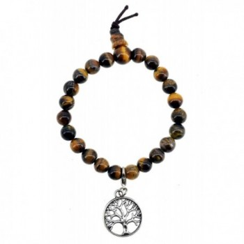 Yoga Meditation Charm Simulated Tiger Eye Bracelet Wrist Mala - CV11LP07U3L