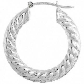 Sterling Silver Italian Hoop Earrings Thick Spiral 7/8 inch - CI111IBYT27
