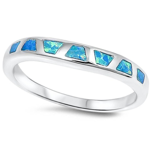 Lab Created Blue Opal Fashion Band .925 Sterling Silver Ring Sizes 5-10 - CK11TN2N0DH