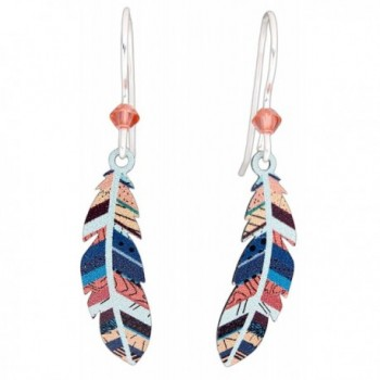 Sienna Sky Hypo-Allergenic Patterned Feather Sterling Silver Plated French Hook Wire Earrings - C112KTGH4NH