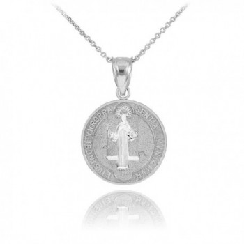 925 Sterling Silver Saint Benedict Medal Protection Pendant Necklace (0.60 Inch in Diameter) - C511LXJEQ1X
