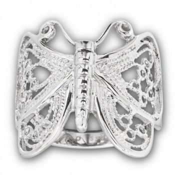 High Polish Filigree Butterfly Ring Stainless Steel Animal Wings Band Sizes 6-10 - CD182STZQCH