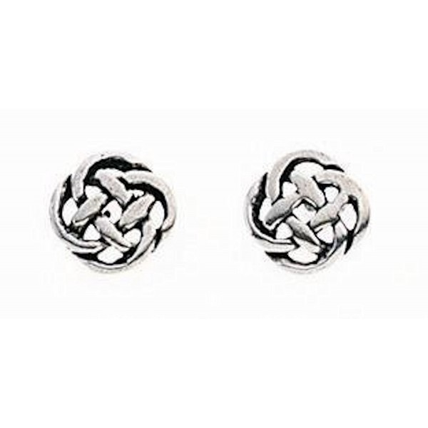 Celtic Knot Stud Earrings Sterling Silver Approx 6mm Across - C6118UKAN3R