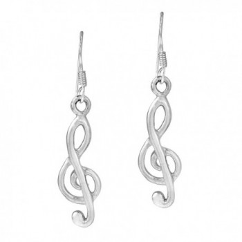 Sweet Melody .925 Sterling Silver Treble Clef Dangle Earrings - CB11PZS6MU1