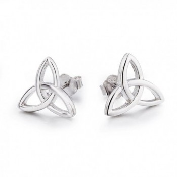 LUHE Sterling Silver Celtic Triquetra Knot Stud Earrings - CO1822Z4TQ4
