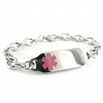 MyIDDr - Pre-Engraved & Customized Diabetes Type II Medical ID Bracelet- Pink Symbol - C4116HRWR8Z