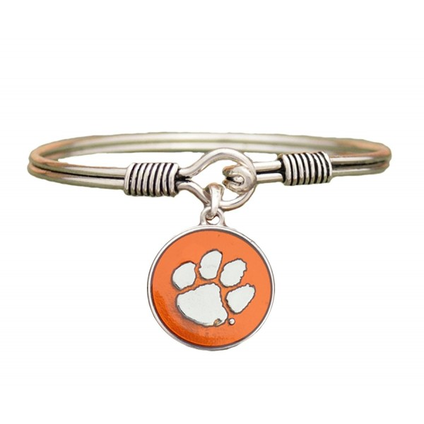 Clemson Tigers Orange Translucent Enamel Disc Wire Bangle Bracelet Jewelry - CN122WK3761