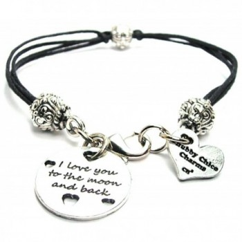 I Love You to the Moon and Back with Hearts Black Cord Pewter Beaded Bracelet - CJ11FWW4V5D