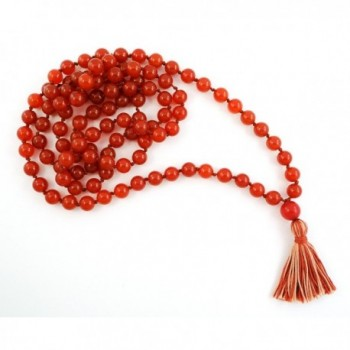 Carnelian 108 Bead Stone Hand Knotted Mala Prayer Necklace - C511D0H6CLD