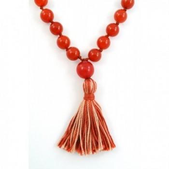 Carnelian Stone Knotted Prayer Necklace